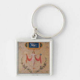 Panel from the boudoir of Marie-Antoinette Silver-Colored Square Key Ring