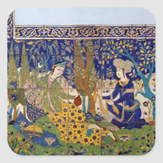 Panel of glazed earthenware tile-work, Isfahan Square Sticker