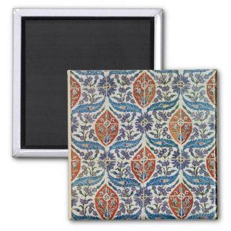 Panel of Isnik earthenware tiles Square Magnet