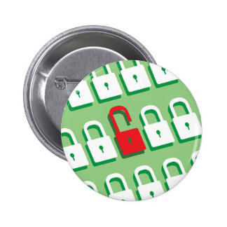 Panel of locks with one lock unlocked Security 6 Cm Round Badge