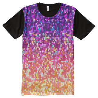 Panel T-Shirt Glitter Graphic All-Over Print T-Shirt