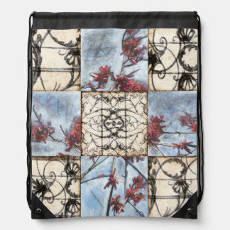 Paneled Abstract Scrollwork Painting Drawstring Bag