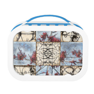 Paneled Abstract Scrollwork Painting Lunch Box