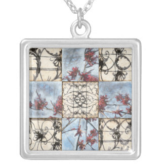Paneled Abstract Scrollwork Painting Silver Plated Necklace