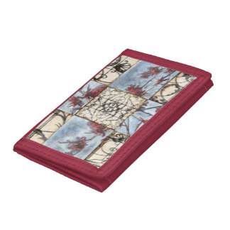 Paneled Abstract Scrollwork Painting Tri-fold Wallet