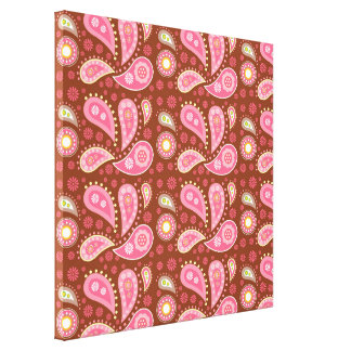 Panels of Pink Paisley Gallery Wrapped Canvas