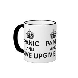 Panic and give up coffee mug