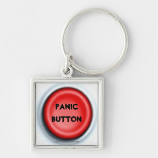 PANIC BUTTON Silver-Colored SQUARE KEY RING