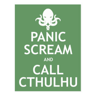 Panic Scream and Call Cthulhu Postcard