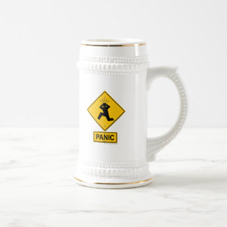 Panic Warning Sign Beer Steins