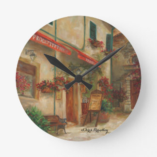 Panini Cafe' Oil painting by Chris Brandley Round Clock