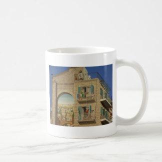 Panited wall of a house in Jerusalem Basic White Mug