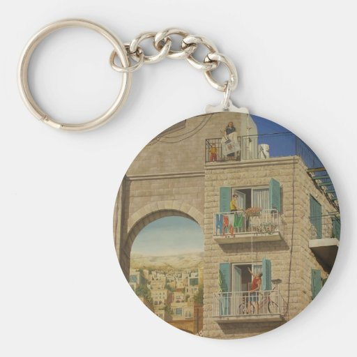 Panited wall of a house in Jerusalem Keychain