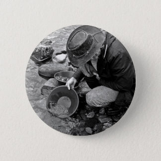 Panning for Gold Black and White 6 Cm Round Badge