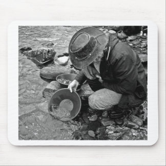 Panning for Gold Black and White Mouse Pads