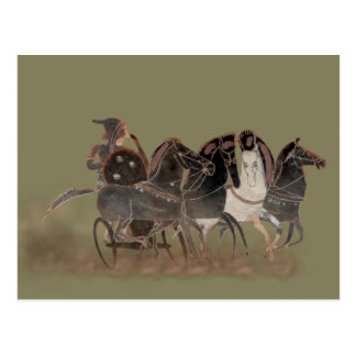 Panoply - Ancient Greek chariot and horses close Postcard