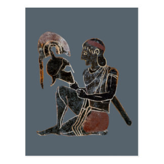 Panoply - Ancient Greek hoplite soldier sitting Postcard