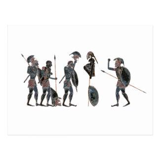 Panoply - Ancient Greek hoplites celebrating Postcard