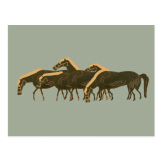 Panoply - Ancient Greek vase art herd of horses Postcard