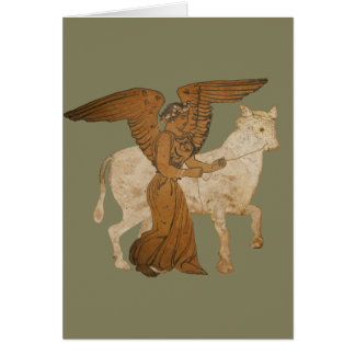 Panoply - The Greek goddess Nike with a bull Greeting Card