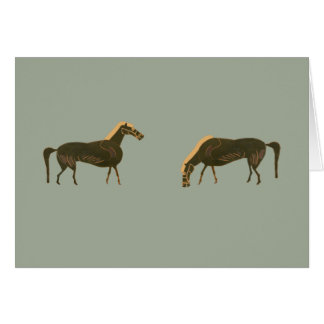 Panoply - Two ancient Greek horses grazing Card