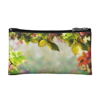 Panorama autumn, leaves, sheets, colored cosmetic bag