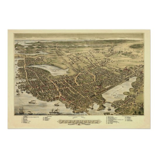Panorama Birds Eye View of Portsmouth NH 1877