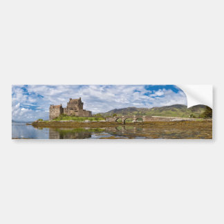 Panorama Eilean Donan Castle viewed from south Bumper Sticker