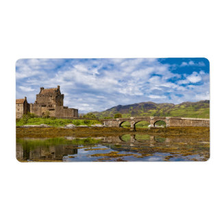 Panorama Eilean Donan Castle viewed from south Shipping Label