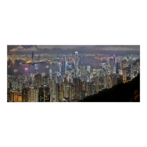 Panorama Hong Kong China Night Skyline Poster