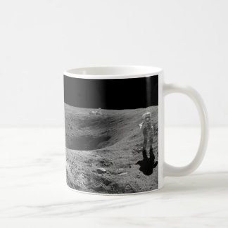 Panorama of Apollo 16 Astronaut on the Moon Basic White Mug