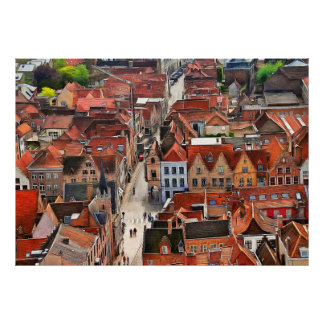 Panorama of Bruges from the Watchtower Belfort Poster