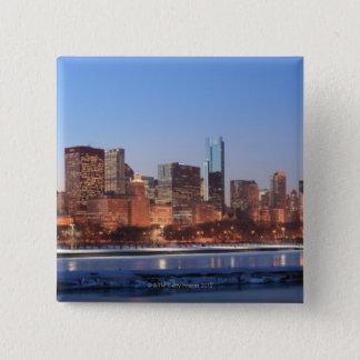 Panorama of Chicago, Illinois across Lake 15 Cm Square Badge