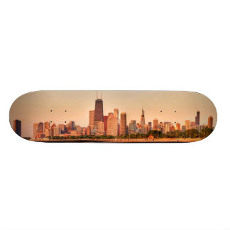 Panorama of Chicago skyline at sunrise 21.3 Cm Mini Skateboard Deck