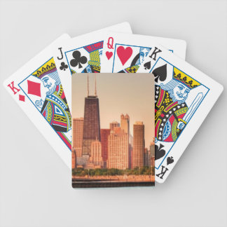 Panorama of Chicago skyline at sunrise Bicycle Playing Cards