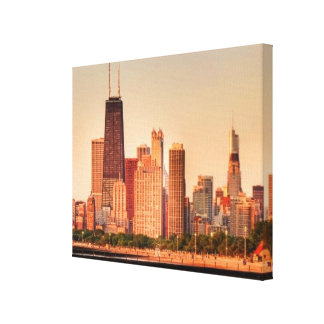 Panorama of Chicago skyline at sunrise Canvas Print