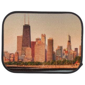 Panorama of Chicago skyline at sunrise Car Mat