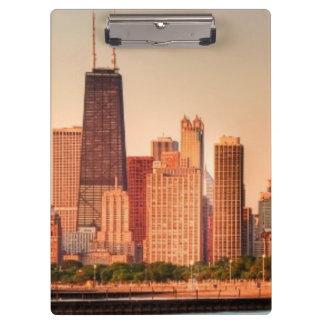 Panorama of Chicago skyline at sunrise Clipboard