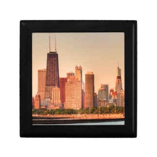 Panorama of Chicago skyline at sunrise Gift Box