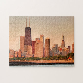 Panorama of Chicago skyline at sunrise Jigsaw Puzzle