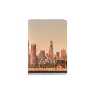 Panorama of Chicago skyline at sunrise Passport Holder