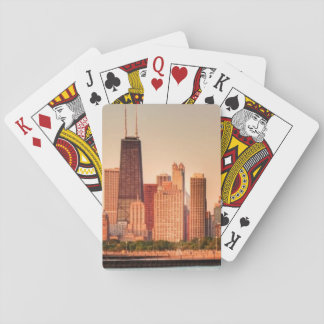 Panorama of Chicago skyline at sunrise Playing Cards