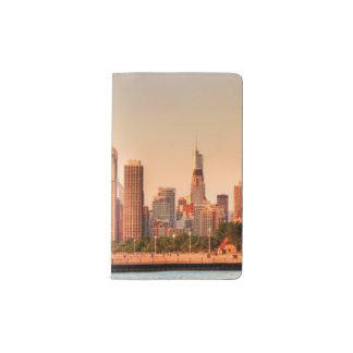 Panorama of Chicago skyline at sunrise Pocket Moleskine Notebook