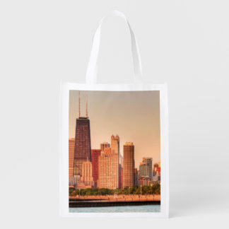 Panorama of Chicago skyline at sunrise Reusable Grocery Bag