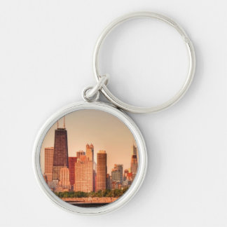 Panorama of Chicago skyline at sunrise Silver-Colored Round Key Ring