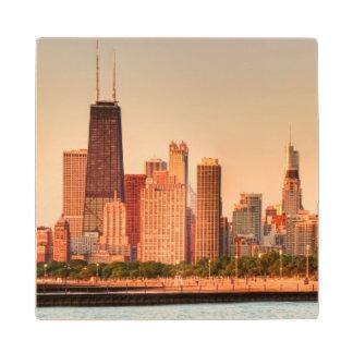 Panorama of Chicago skyline at sunrise Wood Coaster
