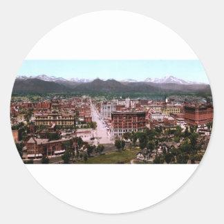 Panorama of Denver Colorado Classic Round Sticker