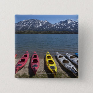 Panorama of kayaks on Bernard Lake in Alaska 15 Cm Square Badge