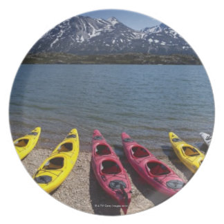 Panorama of kayaks on Bernard Lake in Alaska 2 Dinner Plate