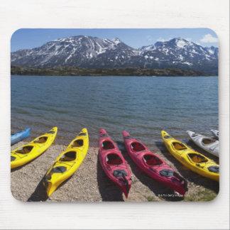 Panorama of kayaks on Bernard Lake in Alaska 2 Mouse Mat